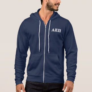 Alpha Epsilon Pi White and Blue Letters Hoodie