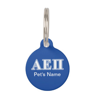Alpha Epsilon Pi White and Blue Letters Pet ID Tag