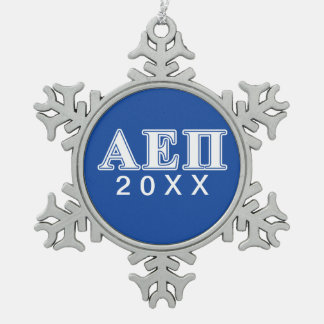 Alpha Epsilon Pi White and Blue Letters Snowflake Pewter Christmas Ornament