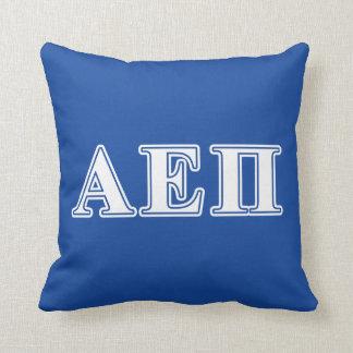 Alpha Epsilon Pi White and Blue Letters Throw Pillow