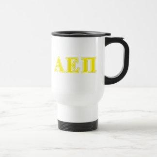 Alpha Epsilon Pi Yellow Letters Travel Mug