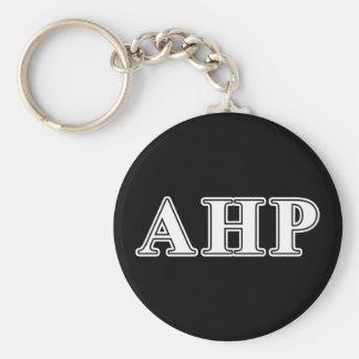 Alpha Eta Rho White and Black Letters Basic Round Button Key Ring