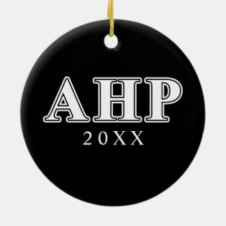Alpha Eta Rho White and Black Letters Christmas Ornament