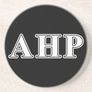 Alpha Eta Rho White and Black Letters Drink Coaster
