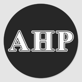 Alpha Eta Rho White and Black Letters Round Sticker