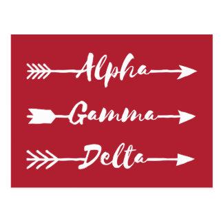 Alpha Gamma Delta Arrow Postcard