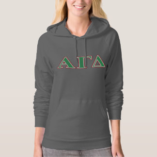 Alpha Gamma Delta Green and Red Letters Hoodie