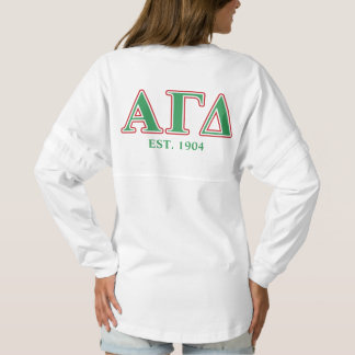 Alpha Gamma Delta Green and Red Letters Spirit Jersey