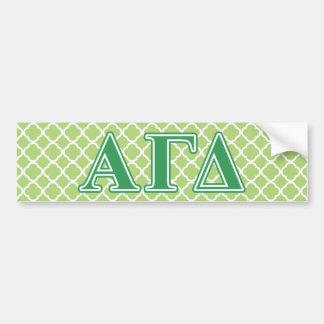 Alpha Gamma Delta Green Letters Bumper Sticker