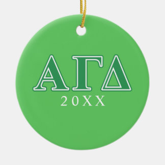 Alpha Gamma Delta Green Letters Christmas Ornament