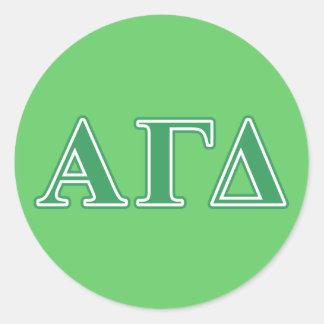 Alpha Gamma Delta Green Letters Classic Round Sticker
