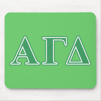 Alpha Gamma Delta Green Letters Mouse Mat