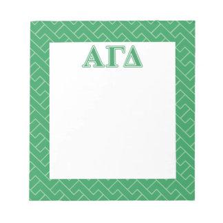 Alpha Gamma Delta Green Letters Notepad