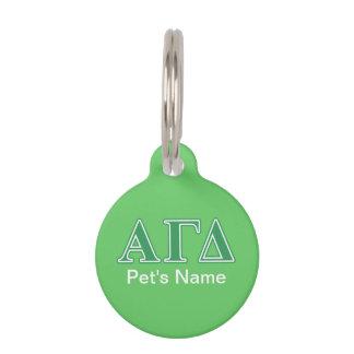 Alpha Gamma Delta Green Letters Pet Name Tag