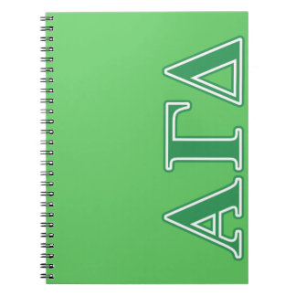 Alpha Gamma Delta Green Letters Spiral Notebook