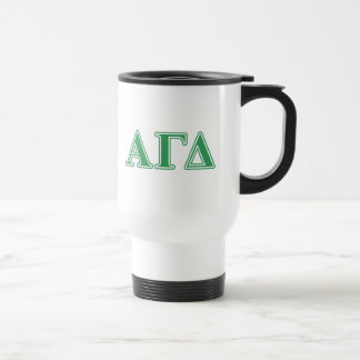 Alpha Gamma Delta Green Letters Travel Mug