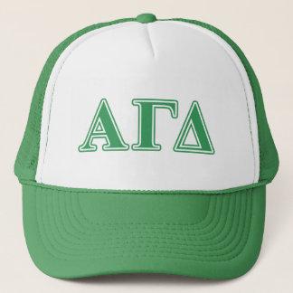 Alpha Gamma Delta Green Letters Trucker Hat