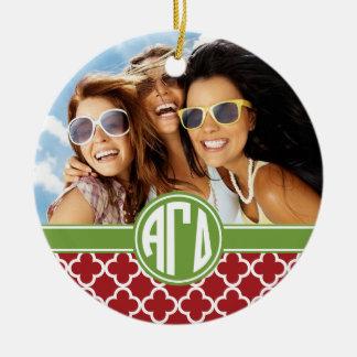 Alpha Gamma Delta   Monogram and Photo Christmas Ornament