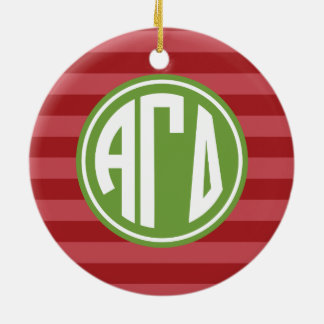 Alpha Gamma Delta | Monogram Stripe Pattern Christmas Ornament
