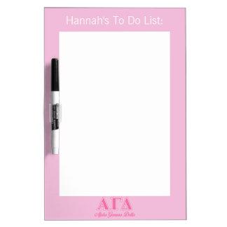 Alpha Gamma Delta Pink Letters Dry Erase Board