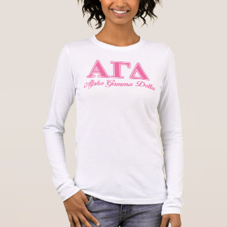 Alpha Gamma Delta Pink Letters Long Sleeve T-Shirt