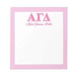 Alpha Gamma Delta Pink Letters Notepad