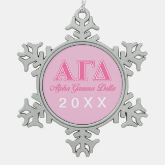 Alpha Gamma Delta Pink Letters Snowflake Pewter Christmas Ornament