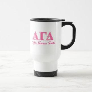Alpha Gamma Delta Pink Letters Travel Mug