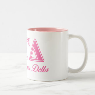 Alpha Gamma Delta Pink Letters Two-Tone Coffee Mug