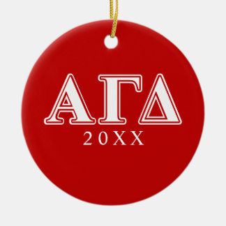 Alpha Gamma Delta Red and White Letters Christmas Ornament