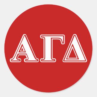 Alpha Gamma Delta Red and White Letters Classic Round Sticker