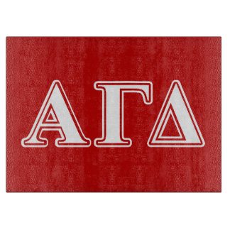 Alpha Gamma Delta Red and White Letters Cutting Board