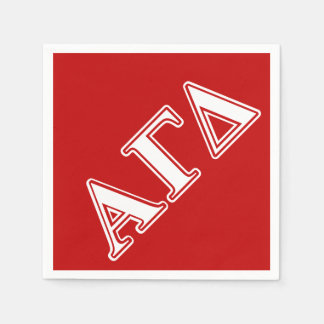Alpha Gamma Delta Red and White Letters Disposable Serviette