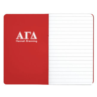 Alpha Gamma Delta Red and White Letters Journal