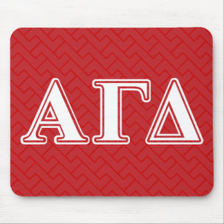 Alpha Gamma Delta Red and White Letters Mouse Mat