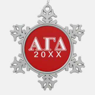Alpha Gamma Delta Red and White Letters Snowflake Pewter Christmas Ornament
