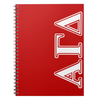 Alpha Gamma Delta Red and White Letters Spiral Notebook