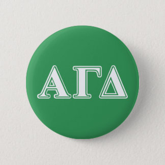 Alpha Gamma Delta White and Green Letters 6 Cm Round Badge