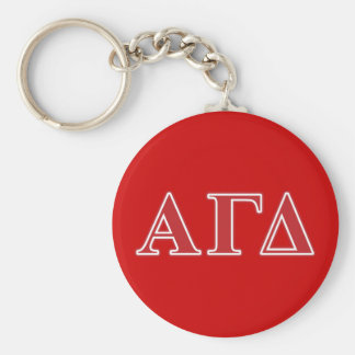 Alpha Gamma Delta White and Green Letters Basic Round Button Key Ring