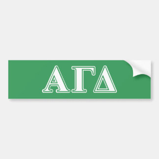 Alpha Gamma Delta White and Green Letters Bumper Sticker