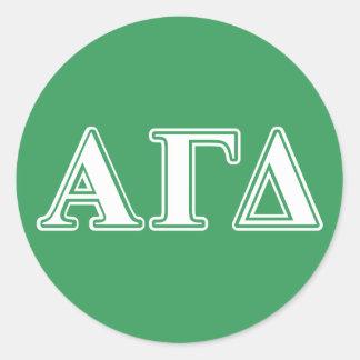 Alpha Gamma Delta White and Green Letters Classic Round Sticker