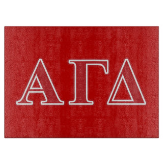 Alpha Gamma Delta White and Green Letters Cutting Board