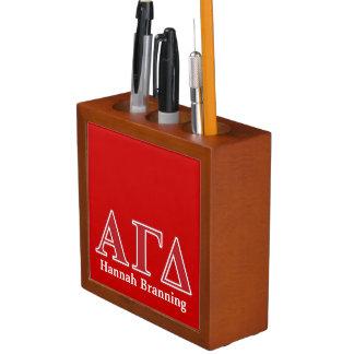 Alpha Gamma Delta White and Green Letters Desk Organiser