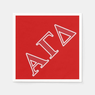 Alpha Gamma Delta White and Green Letters Disposable Napkin