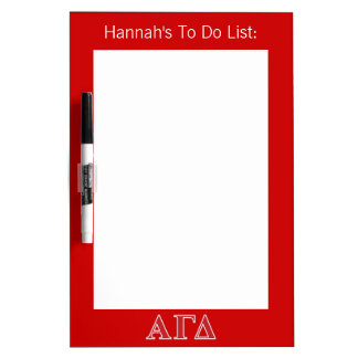 Alpha Gamma Delta White and Green Letters Dry Erase Board
