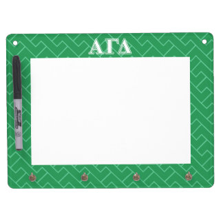 Alpha Gamma Delta White and Green Letters Dry Erase Board With Key Ring Holder