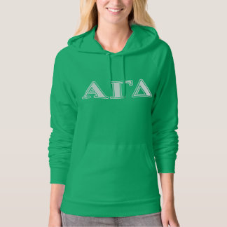 Alpha Gamma Delta White and Green Letters Hoodie