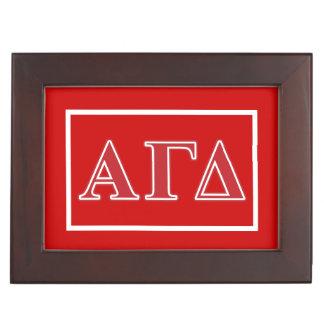 Alpha Gamma Delta White and Green Letters Keepsake Box