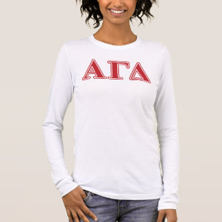 Alpha Gamma Delta White and Green Letters Long Sleeve T-Shirt