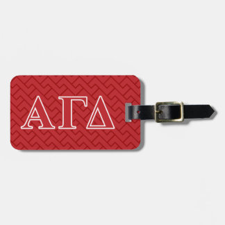 Alpha Gamma Delta White and Green Letters Luggage Tag